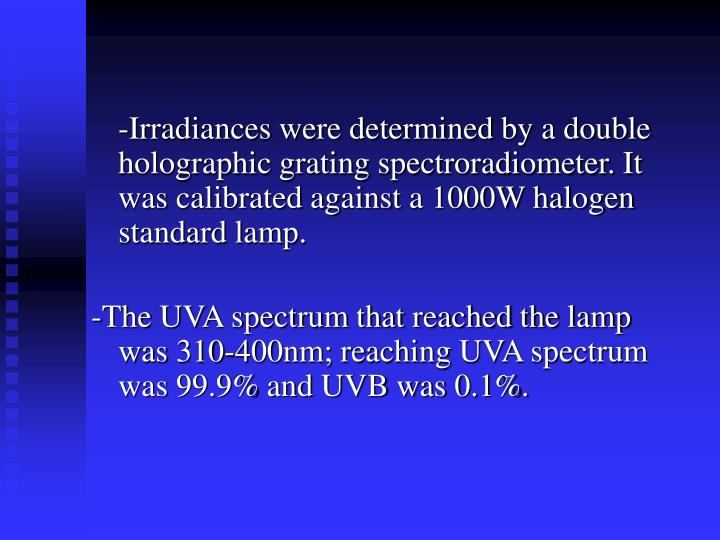 -Irradiances were determined by a double holographic grating spectroradiometer. It was calibrated against a 1000W halogen standard lamp.