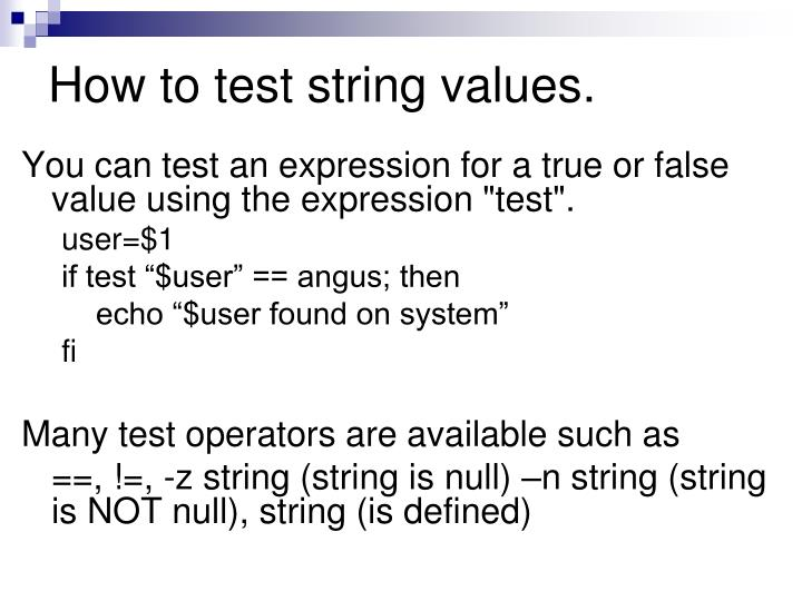 How to test string values.