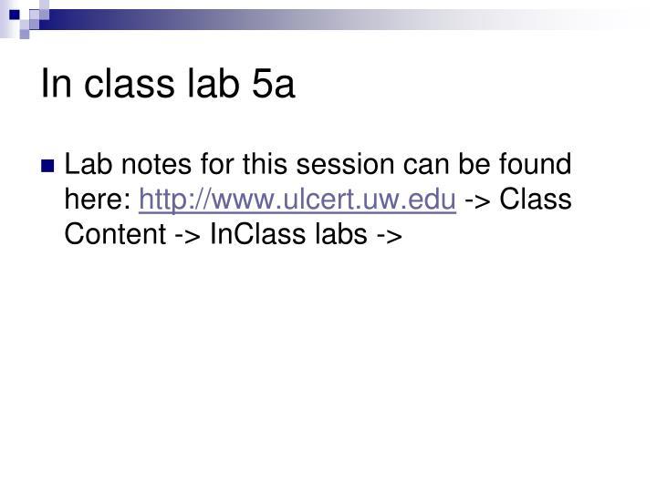 In class lab 5a