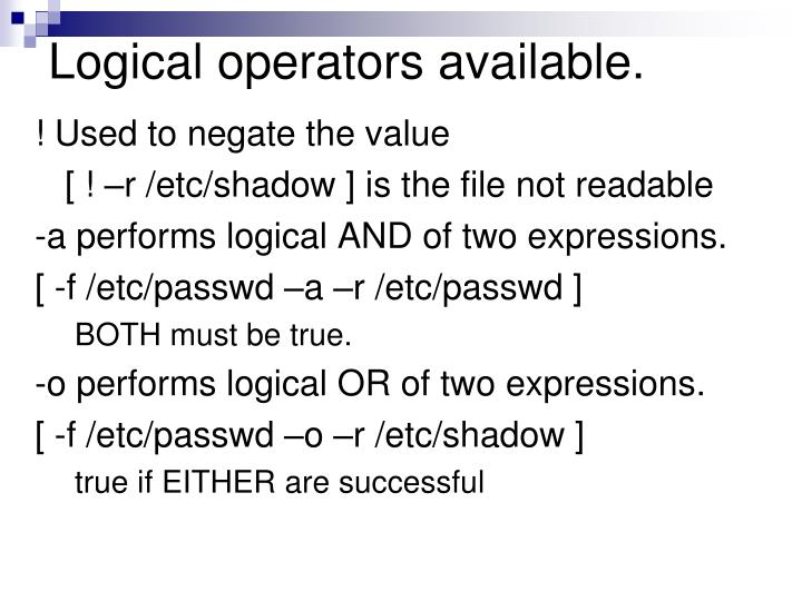 Logical operators available.