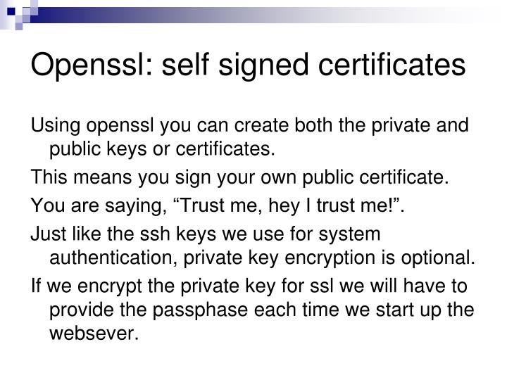 Openssl: self signed certificates