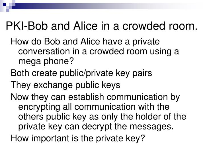 PKI-Bob and Alice in a crowded room.