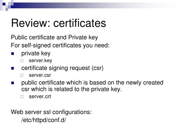 Review: certificates
