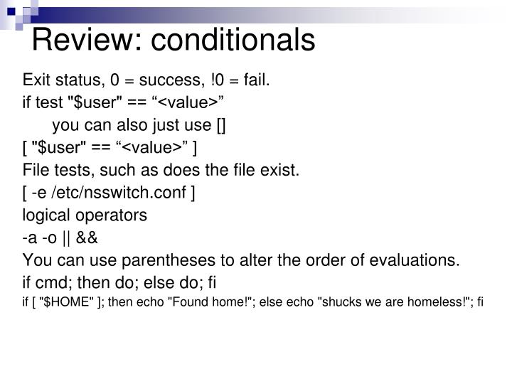 Review: conditionals