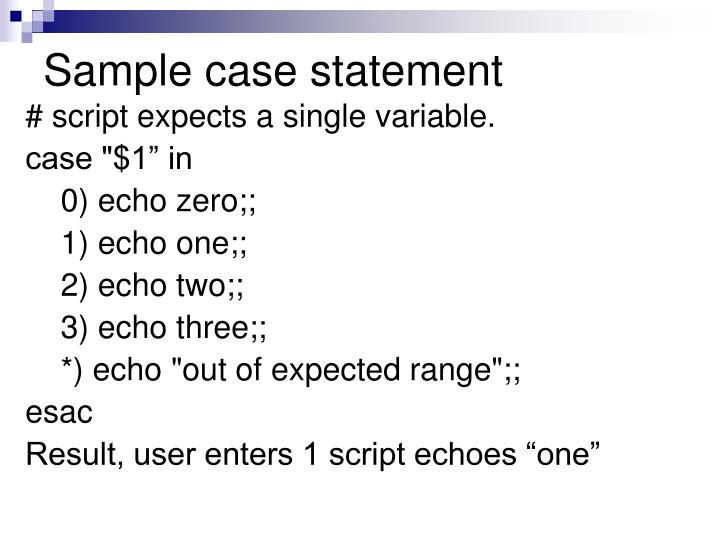 Sample case statement