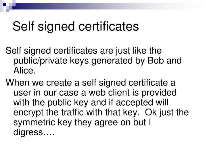 Self signed certificates