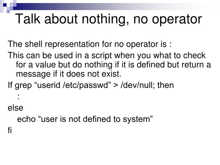 Talk about nothing, no operator
