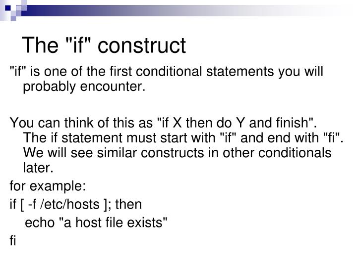 "The ""if"" construct"