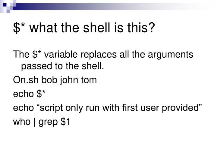 $* what the shell is this?