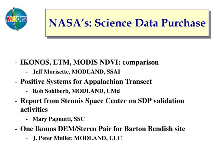 Nasa s science data purchase