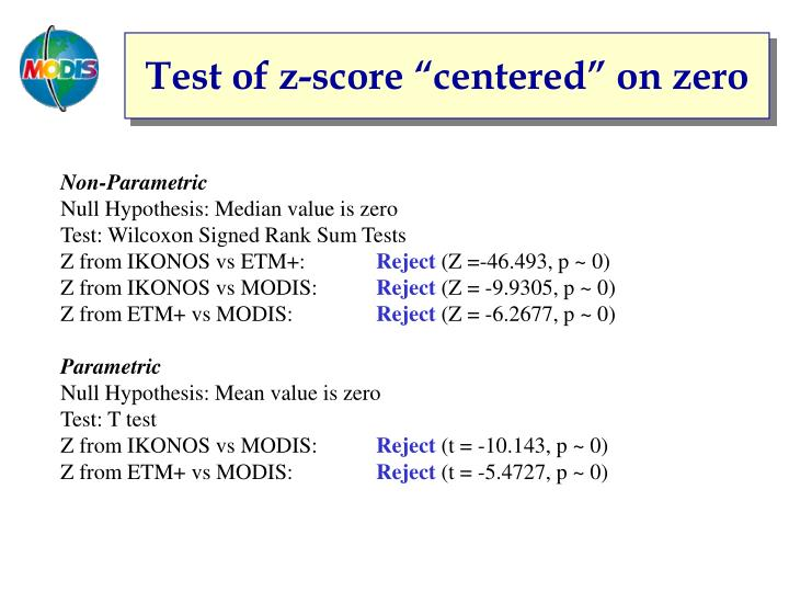 "Test of z-score ""centered"" on zero"