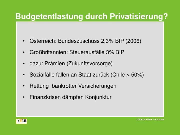 Budgetentlastung durch Privatisierung?