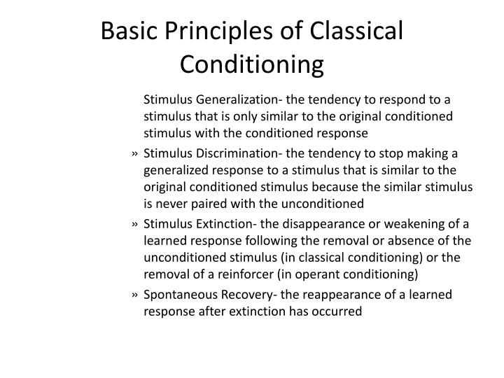 Basic Principles of Classical Conditioning