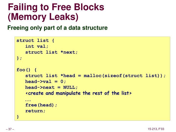 Failing to Free Blocks