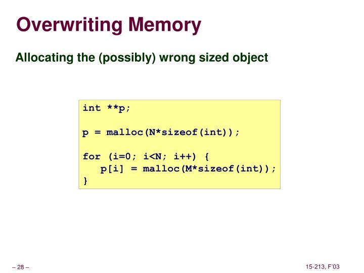 Overwriting Memory