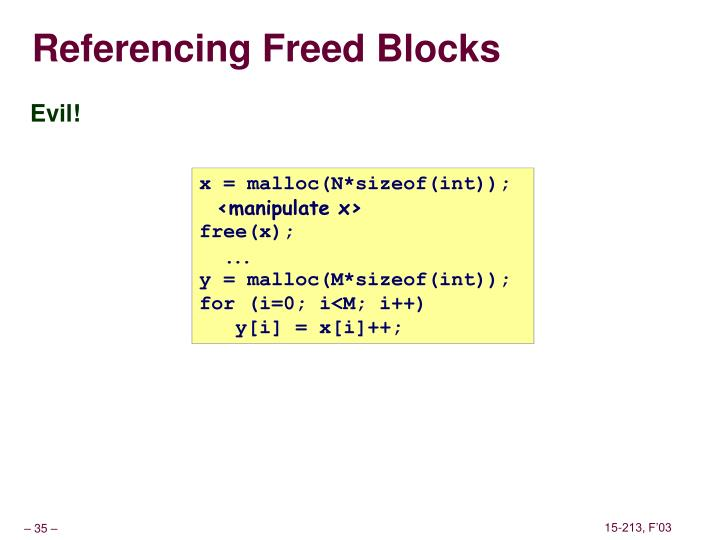 Referencing Freed Blocks