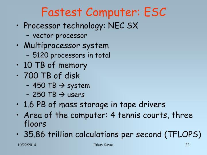 Fastest Computer: ESC