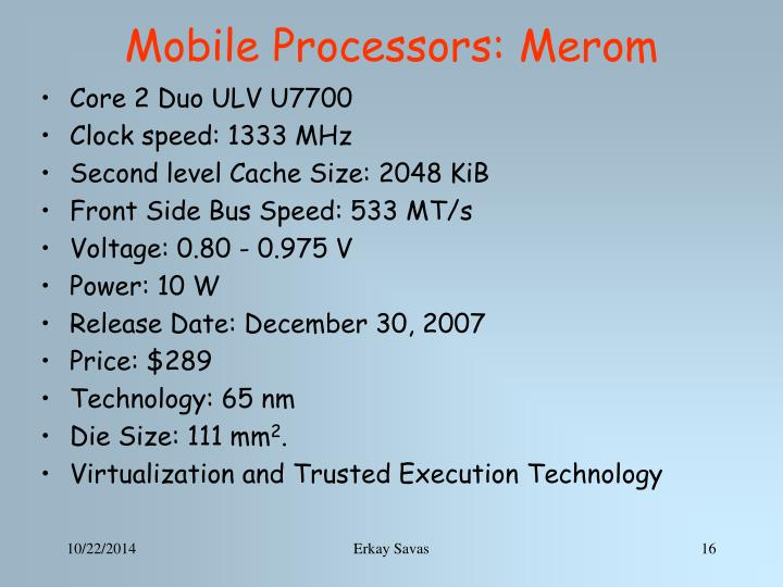 Mobile Processors: Merom