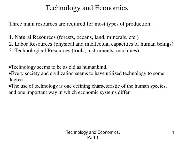 Technology and Economics