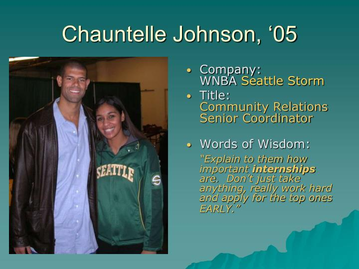 Chauntelle Johnson, '05