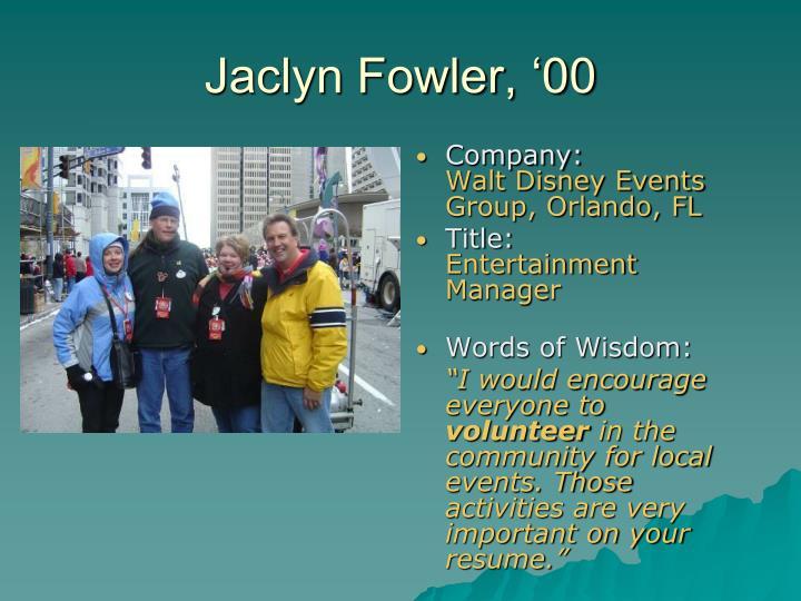 Jaclyn Fowler, '00