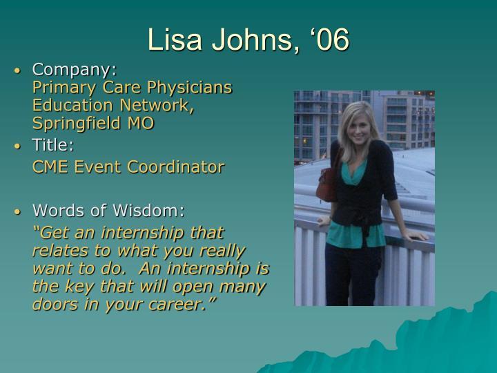 Lisa Johns, '06
