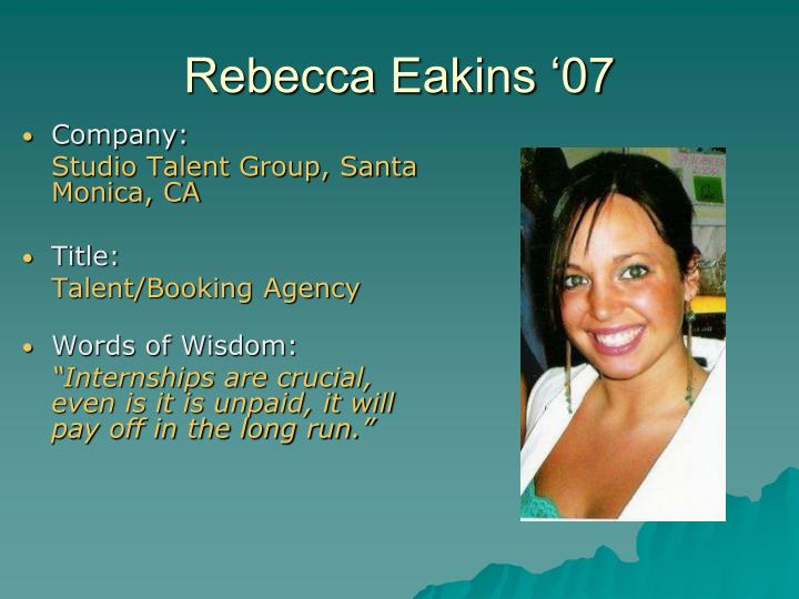 Rebecca Eakins '07