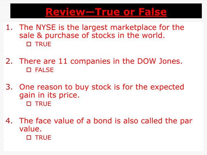 Review—True or False