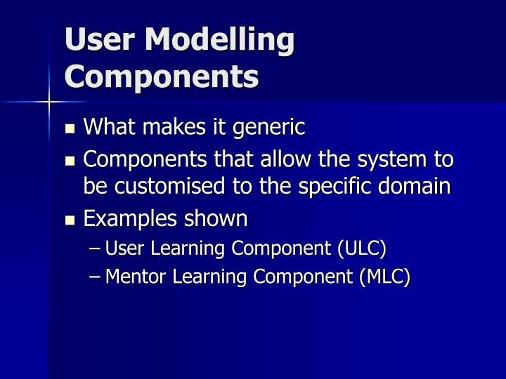 User Modelling Components