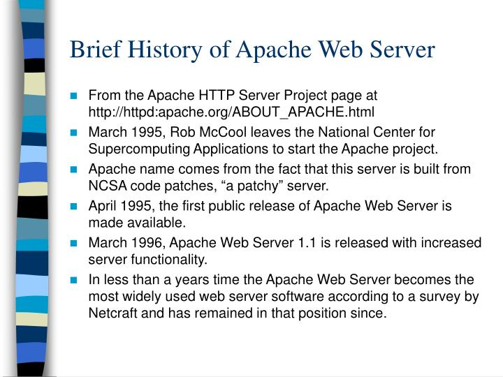 Brief history of apache web server