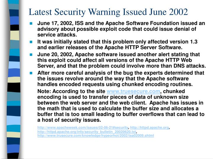 Latest Security Warning Issued June 2002
