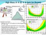 high mass h zz 2l 2jets or 2b jets