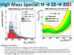 high mass special h zz 2l 2