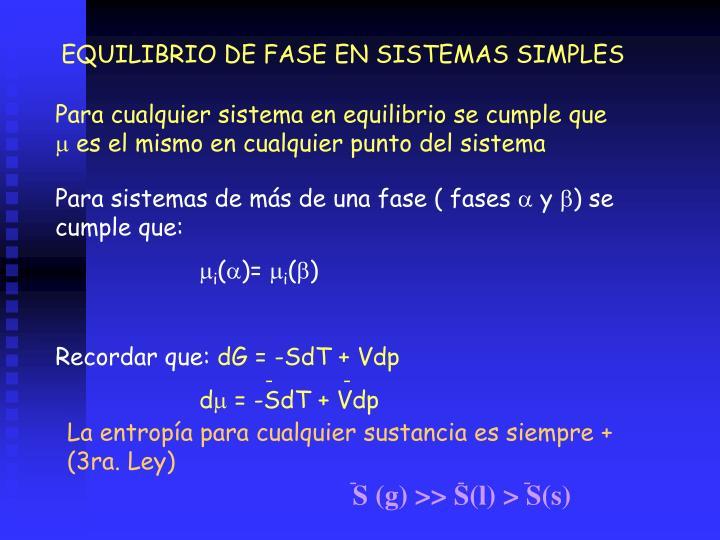 EQUILIBRIO DE FASE EN SISTEMAS SIMPLES