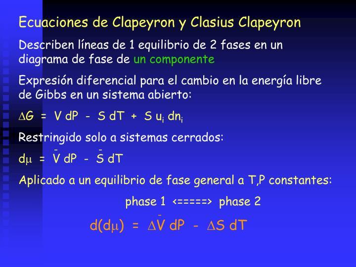 Ecuaciones de Clapeyron y Clasius Clapeyron