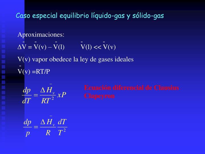 Caso especial equilibrio líquido-gas y sólido-gas