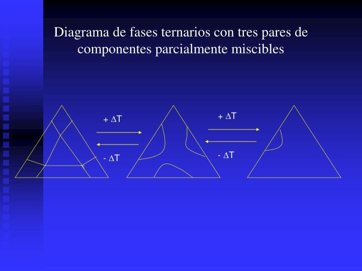 Diagrama de fases ternarios con tres pares de componentes parcialmente miscibles