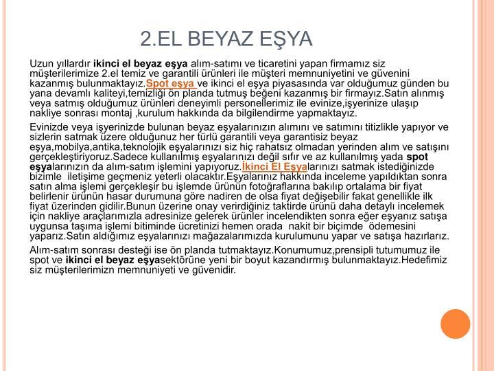 2.EL BEYAZ EŞYA