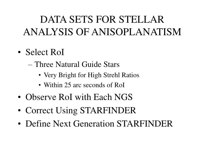 DATA SETS FOR STELLAR