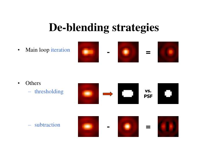 De-blending strategies