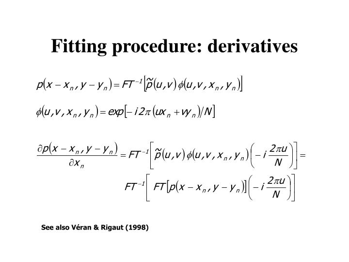 Fitting procedure: derivatives