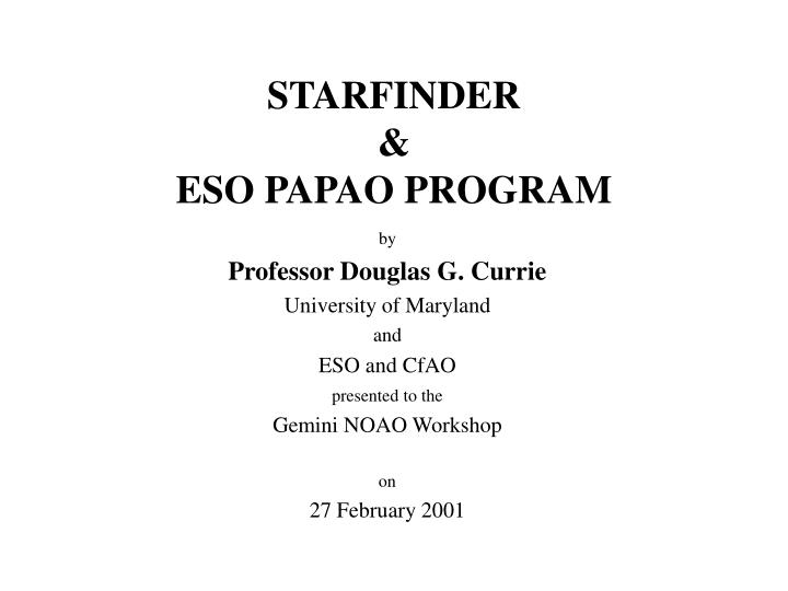 Starfinder eso papao program