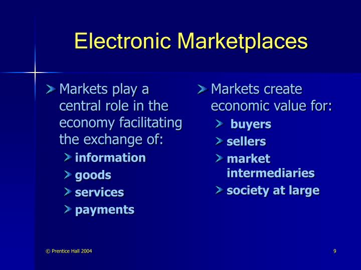 Markets play a central role in the economy facilitating the exchange of: