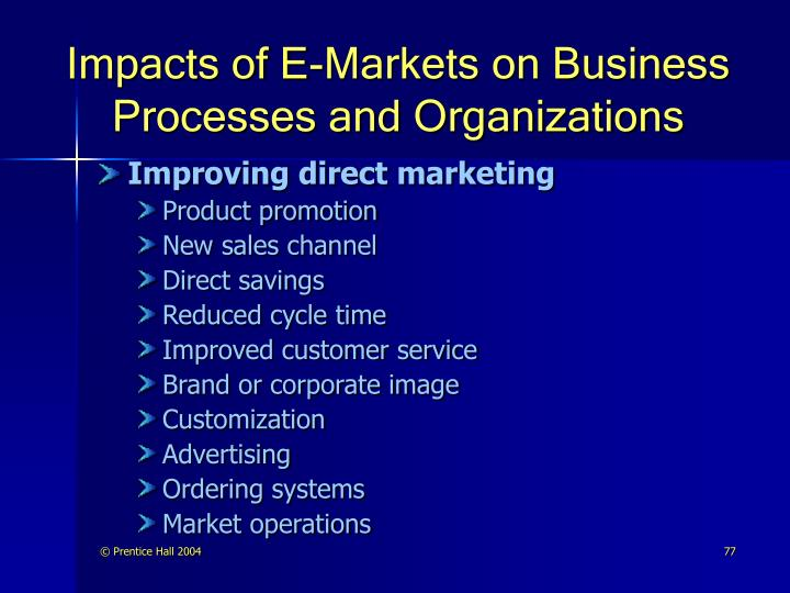 Impacts of E-Markets on Business Processes and Organizations