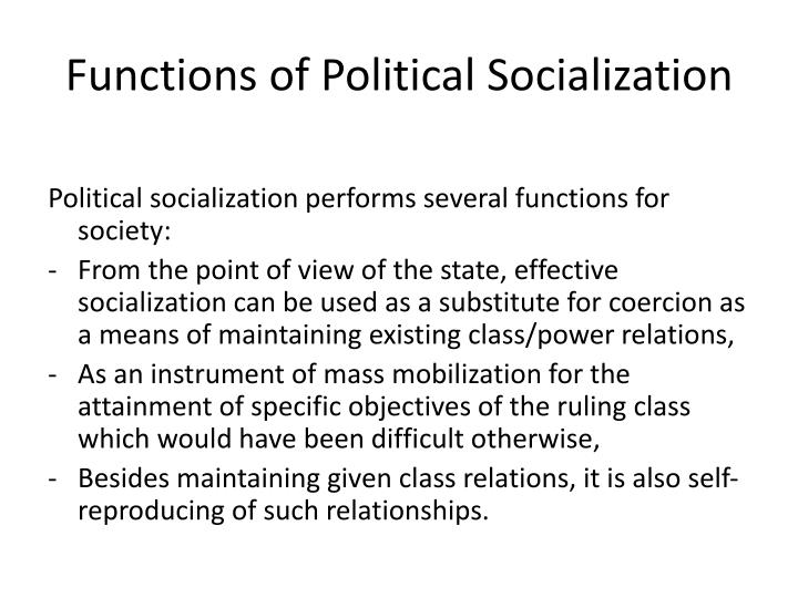 Functions of Political Socialization