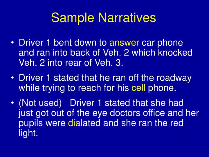 Sample Narratives