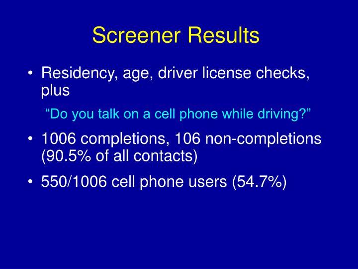 Screener Results