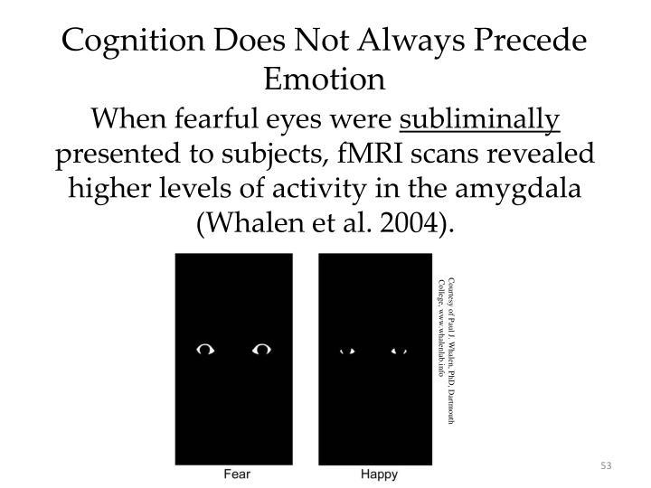 Cognition Does Not Always Precede Emotion