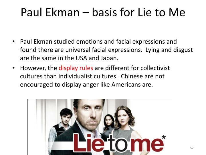 Paul Ekman – basis for Lie to Me