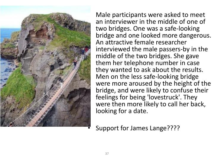 Male participants were asked to meet an interviewer in the middle of one of two bridges. One was a safe-looking bridge and one looked more dangerous. An attractive female researcher interviewed the male passers-by in the middle of the two bridges. She gave them her telephone number in case they wanted to ask about the results. Men on the less safe-looking bridge were more aroused by the height of the bridge, and were likely to confuse their feelings for being 'lovestruck'. They were then more likely to call her back, looking for a date.